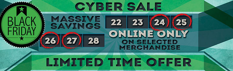 Black Friday Cyber Sale on now!